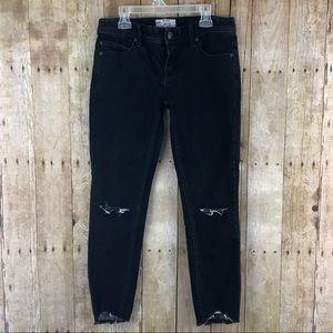 Free People Frayed Hem Black Jeans